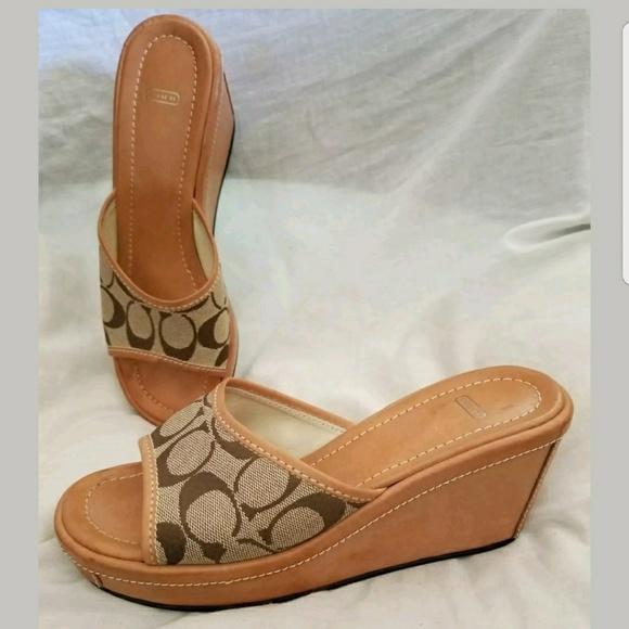 ec779d4c9ef Coach Shoes - Vintage Coach mules 8 B Charma khaki signature